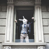 rabbit mask man appeared at the window — Stock Photo