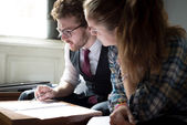 business blonde hipster couple working — Stock Photo