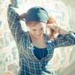Beautiful young blonde hipster stylish woman — Stock Photo