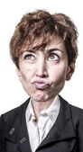 Funny puppet big head business woman — 图库照片