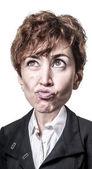 Funny puppet big head business woman — Fotografia Stock