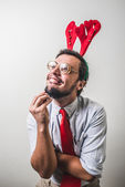 Funny santa claus babbo natale nerd — Stock Photo