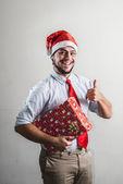 Funny christmas business man — Stock Photo