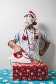 面白いサンタ クロース babbo natale さんのアイロン — ストック写真