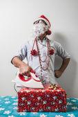 Grappige santa claus babbo natale strijken — Stockfoto
