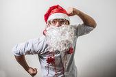 Funny santa claus babbo natale myopic — Stock Photo