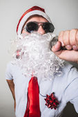 Funny santa claus babbo natale singing — Stock Photo