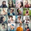 Stock Photo: Collage of group various people listening to music