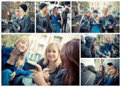 Three woman lifestyle having fun in the city — Stock Photo