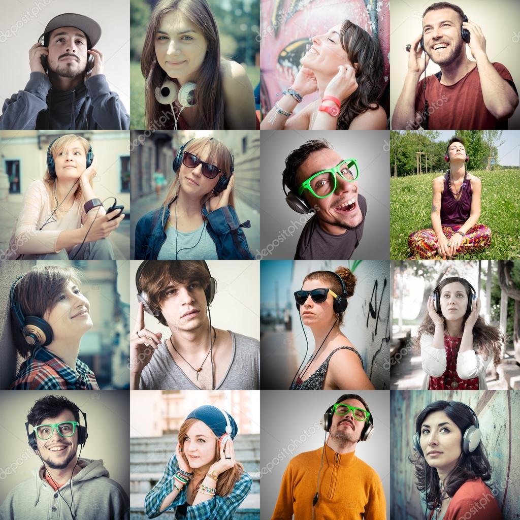 colagem do grupo de v225rias pessoas ouvir m250sica � foto