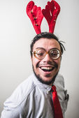 Funny christmas nerd businessman — Stock Photo