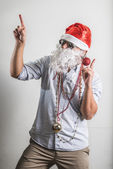 Grappige santa claus dansen babbo natale — Stockfoto