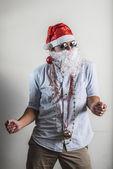 Funny santa claus dancing babbo natale — Stock Photo