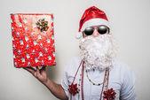 Grappige santa claus geschenk doos babbo natale — Stockfoto