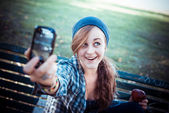 Beautiful young blonde hipster woman selfie — Stock Photo
