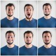 Collage of young stylish man expressions — Stock Photo