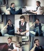 коллаж стильный человек с помощью ноутбука и телефона — Стоковое фото
