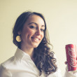 Постер, плакат: Beautiful woman drinking coca cola can 33 cl