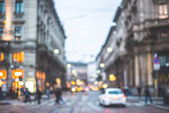 Blurred city and people — Photo