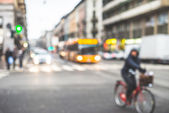 Blurred city and people — Stockfoto