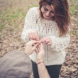 Stock Photo: Couple in love marriage proposal