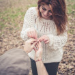 Couple in love marriage proposal — Stock Photo