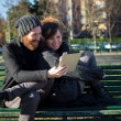 Stock Photo: Young couple in love using tablet