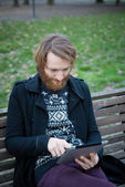 Man with tablet — Stock Photo