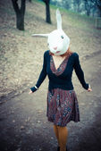 Rabbit mask unreal woman — Stock Photo