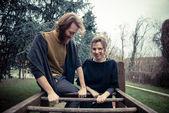 Young modern stylish couple — Foto de Stock