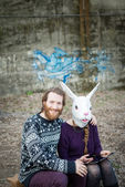 Young hipster cuople lovers — Stok fotoğraf