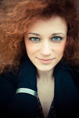 Red curly hair woman — Stock Photo