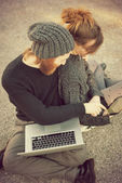 Couple using tablet — Stok fotoğraf