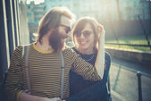Young modern stylish couple — Stock Photo