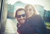 Young modern stylish couple — Stockfoto