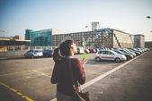 Woman bubble blower — Stockfoto