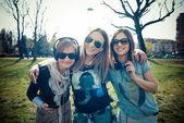 Three beautiful friends authentic — Stock Photo