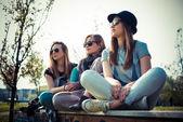 Three beautiful friends authentic — Stok fotoğraf