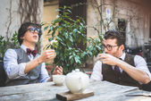 Two young hipster stylish  men  — Stock Photo