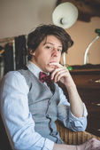 Young hipster stylish  man — Stock Photo