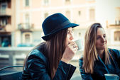 Two beautiful friends authentic — Stock Photo