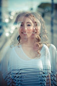 Overlap young beautiful brunette woman — Stock Photo
