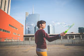 Woman with bubble blower — Stockfoto