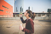 Woman with bubble blower — Stock Photo