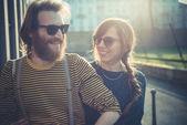 Young modern stylish couple urban — Stockfoto