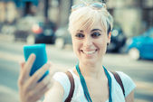 Hipster woman selfie — Stock Photo