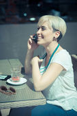 Short hair hipster woman — Stock Photo