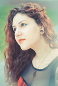Curly  hipster woman — Stock Photo