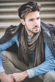 Young handsome fashion model man — Stock Photo