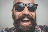 Hipster long bearded and mustache man — Stock Photo